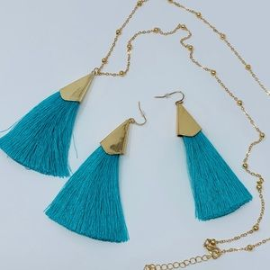 Jewelry - Teal Tassel Necklace and Earrings Set
